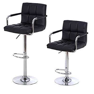 Songmics 2 x Faux Leather Breakfast Kitchen Bar Stools Black LJB93B - cheap UK light shop.