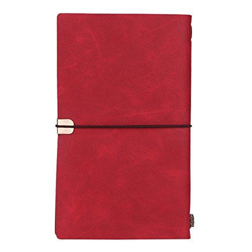 Notizbuch A6 Tagebuch mit Kunstleder Bezug 200 Seiten Linierte Notizblöcke Vintage Stil Notebook Schulheft Schreibheft Notizheft für Business Reise Alltagsleben Notizen Rot