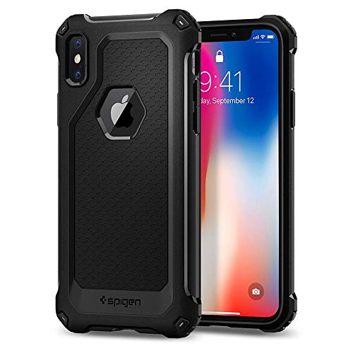 Spigen cover iphone x, [rugged armor extra] custodia iphone x con assorbimento antiurto e fibra di carbonio per apple iphone x (2017) - black - 057cs22154