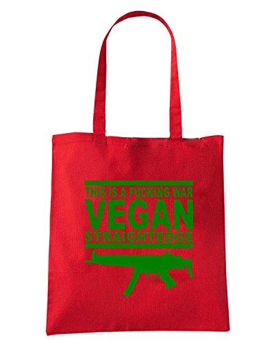 T-Shirtshock - Borsa Shopping TR0148 Vegan Weapon T-Shirt Rosso