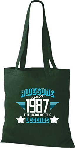 shirtstown Borsa di stoffa Impressionante SINCE 1987 The Year of the LEGGENDE Verde