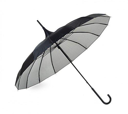 XL Pagodenschirm schwarz & silber kombiniert mit Seidenglanz Regenschirm Pagode by Lindy Lou UK