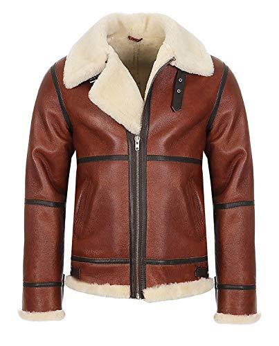 Hollert German Leather Fashion Bomberjacke - B9 Herren Lammfelljacke Winterjacke Größe 3XL, Farbe Model 7 - Kastanie/Creme