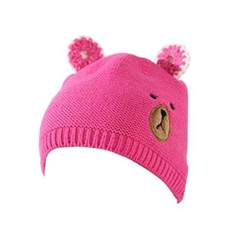 Baby Bär Hat Transer® Unisex Mädchen/Jungen Kleinkind Säugling Cap Baumwolle Hase Mützen Kopfbedeckung mit Ohren Größe: 1-3 Jahre alte Kinder (Wassermelonenrot)