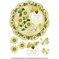 Lemon Daisy ideali per il Decoupage, 20 cm, motivo: centrino, Topper by Ann Vaux marie