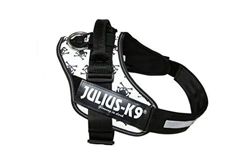 Julius-K9, 16IDC-HAK-3, IDC-Powergeschirr, Hundegeschirr, Größe: 3, Totenkopf und Knochen -