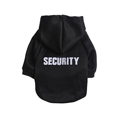Angelof Vetement Chien/Chat Sweat A Capuche Chien Veste Petit Chihuahua Manteau T-Shirt Habillement 2 Pattes pour Chien Habits Chiot Imprimé 'Security' (M, Noir)