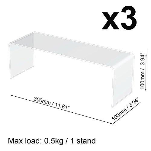 330x 10* 10cm Plexiglas Acryl Rückseite des Display Schrank Ständer Riser Ablage 3mm -
