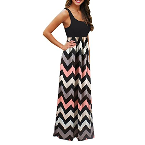 UFACE Damen Ärmelloses Wave Stripe Dress Womens Striped Long Boho Kleid Lady Beach Sommer Sundrss...