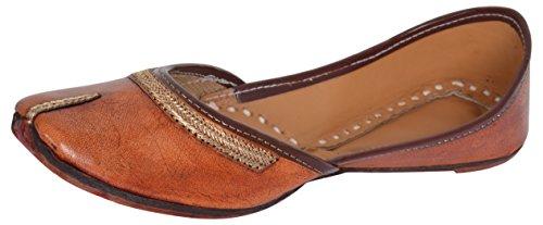 AMPEREUS Women's Brown Leather Juttis - 4 UK