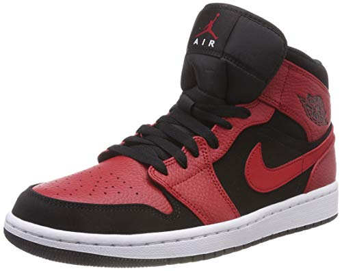 wholesale dealer 6669f 01d0e NIKE Men s Air Jordan 1 Mid Basketball Shoes, (Black Gym Red White