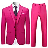 Costume Homme 3 Pcs Costard Blazer Veste et Pantalon Gilet Mariage Party Smoking, Rose, XXL