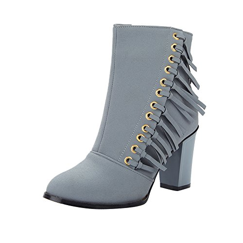 Mee Shoes Damen Reißverschluss chunky heels Quaste Nubukleder Stiefel Grau