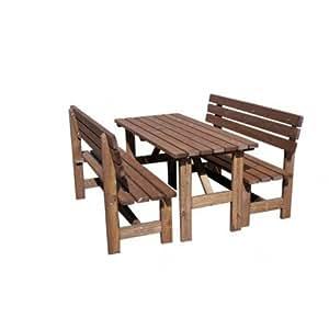 AVANTI TRENDSTORE - Set da giardino in legno con 1 tavolo e 2 panche