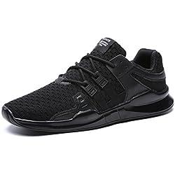 UBFEN Zapatillas de Running Padel para Hombres Zapatos Deportivas Gimnasio Correr Deportes de Exterior y Interior Fitness Casual Sneakers EU 45 D Negro