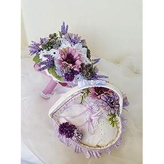 Ramo de novia tiffany hecho enteramente a mano, compuesto de flores artificiales rosas de ganchillo, cintas de raso, encajes y encajes.