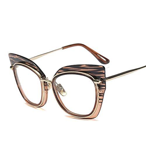 ZYDP Katzenauge Blau lichtundurchlässige Brille Hipster Metallrahmen Frauen-Brille Computer-Buch Lesebrille (Color : Brown)