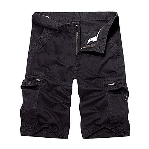 Herrbar Herren Cargo Shorts Baumwolle Bermuda Vintage Casual Kurz Hose (Schwarz, W33) - Herren-casual-hose