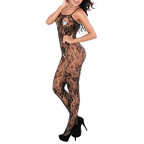 Siennaa Damen Dessous Sexy Reizwäsche, Frauen Spitze Blumen Strapsen Fischnetz Open Crotch Body Stocking Sheer Lingerie Body Dehnbar Strumpfhose Bodysuit Overalls Ouvert Catsuit (A1) -