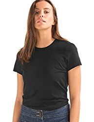 GAP Womens Vintage wash short sleeve crewneck T-Shirt(18016513708_True Black_XS)