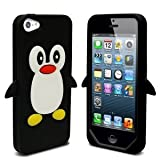 SKS Distribution® New Apple iPhone 5 / 5S BLACK Cute Penguin Silicone Soft Phone Case Cover