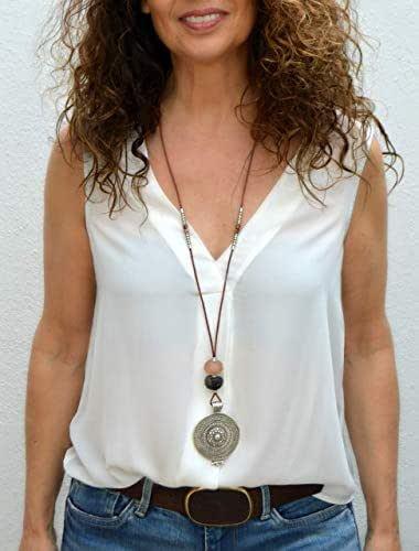 Lunga collana in cuoio per donne in stile celtico, gioielli moderni