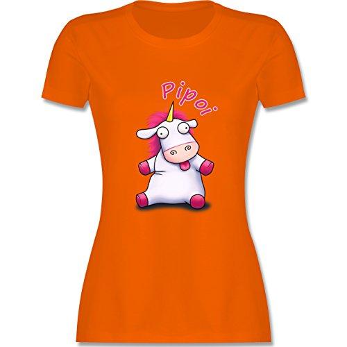 Comic Shirts Pipoi Einhorn flauschig tailliertes Premium TShirt mit  Rundhalsausschnitt für Damen Orange