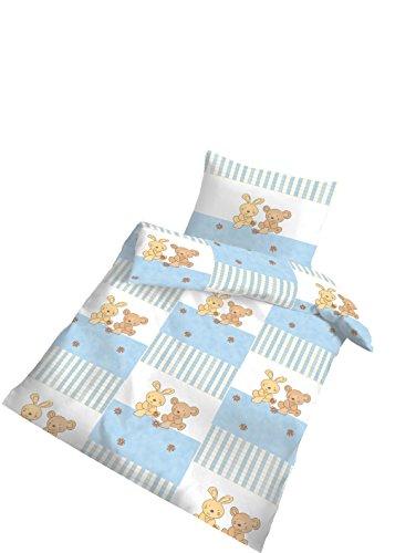 Träumschön Biber Baby Bettwäsche 100x135 cm - 40x60 cm | MADE in GERMANY | Hasen und Bären Bettwäsche Set (Rote Baby-mädchen Bettwäsche)