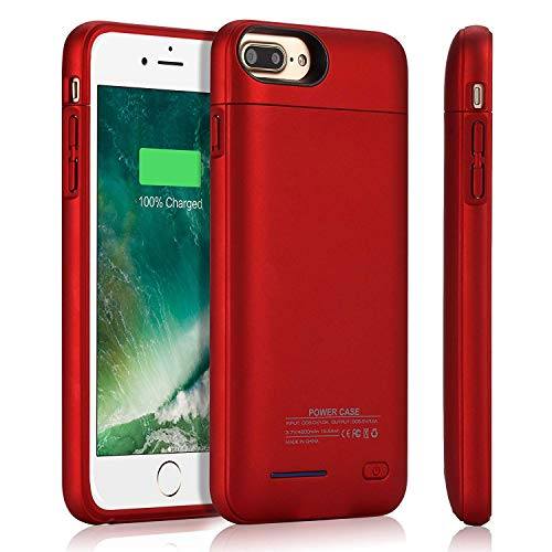 YISHDA Akku-Schutzhülle, kompatibel mit iPhone 8/7/6S/6, 3000 mAh, schlankes und wiederaufladbares Zusatzakku, externes Akku-Ladegerät, Schutzhülle mit magnetischem Akku, 12 cm, Rot