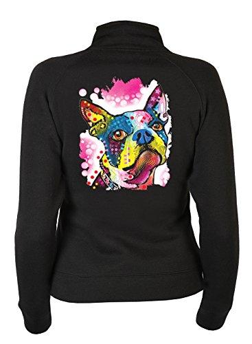 Boston Terrier Kapuzen Sweatshirt (Damen ZIP-Sweater mit Motiv: Boston Terrier - Hundemotiv - Geschenk - Zip Pullover, Pulli mit Reißverschluss - Farbe: schwarz)