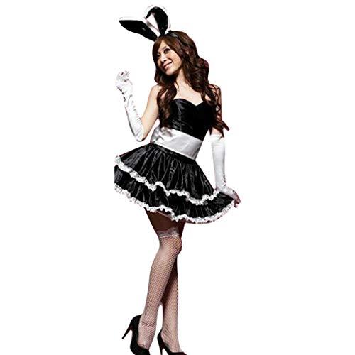 (Xmiral Damen Winter Weihnachtsfeier Cosplay Kaninchen Tänzerin Minikleid Set für Rollenspiel Halloween Maskerade(One Size,Schwarz))