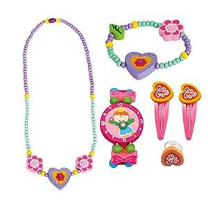BINO 6 TLG. Set Holzschmuck Mädchenschmuck Kinderschmuck Motiv Herz lila – Halskette Armband Armbanduhr Ring 2 Haarspangen