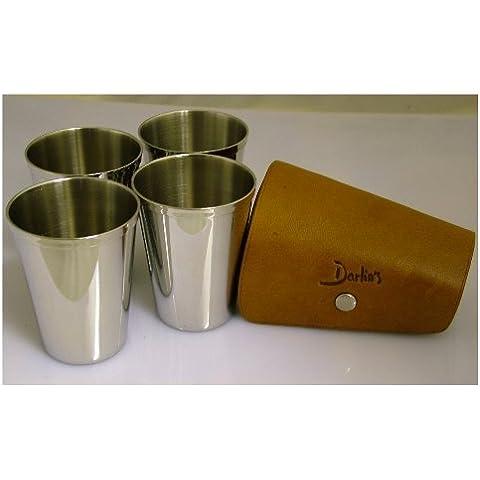 ThePresentStore - Bicchieri cromati placcati, 89 ml, con custodia da viaggio in pelle (Confezione da 4)