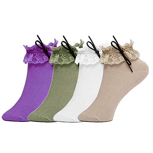 Imixcity 3 Paia Calzini da Donna Ultra Sottile Elastico Trasparente Pizzo  Frilly Lace Ankle Sock Principessa 3d795b6764a