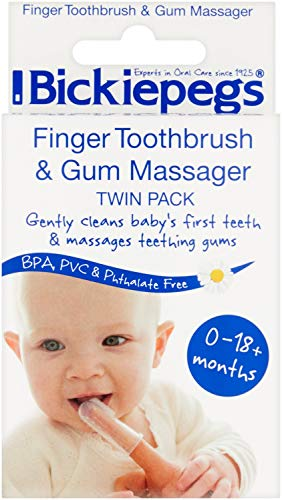 Bickiepegs Finger Toothbrush & Gum Massager Twin Pack - Durchsichtig, 0-18m+