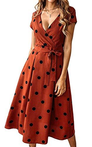 ECOWISH Damen Punkte Kleid V-Ausschnitt Sommerkleider Kurzarm Freizeitkleider Midi Strandkleid mit Gürtel Ziegelrot XL