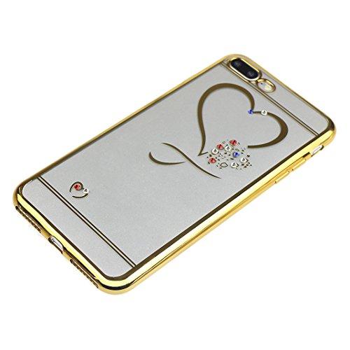 Doux Coque iPhone 7 Plus Transparent, Etui iPhone 7 Plus TPU, Housse iPhone 7 Plus Silicone Case, Moon mood® Soft Gel TPU Bumpour Case Cover pour Apple iPhone 7 Plus Protection Housse Coquette Gel Coq 1-Or