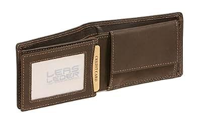 Mini-Geldbörse mit Klappe im Querformat LEAS MCL in Echt-Leder, braun - ''LEAS Basic-Vintage-Collection''