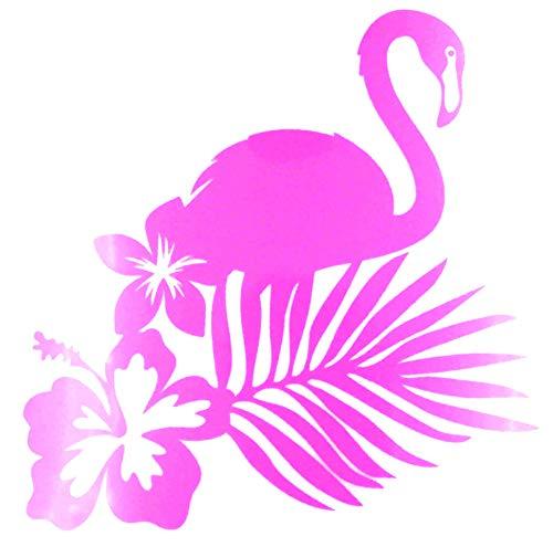 Tropical-motiv (Bügelbild, Motiv: Flamingo Tropical, Größe: 19x21,5cm, Farbe: neonpink, heißsiegelfähige Flockfolie auf Basis von Viskosefasern)