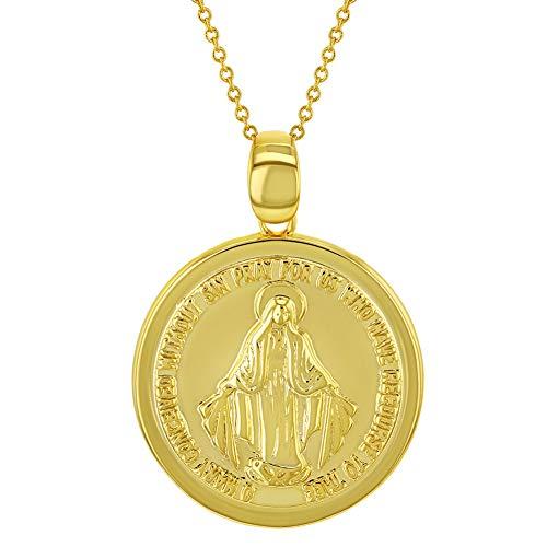 In Season Jewelry - Collar con Colgante de Medalla Religiosa de la Virgen María Milagrosa, Chapado en Oro Amarillo de 18 Quilates, 48 cm