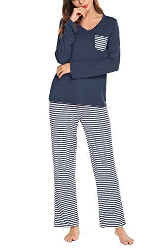 Lomon donna pigiama 2 pezzi pigiami due pezzi da donna estiva t-shirt & pantaloncini corti casual (blu navy-2, large)