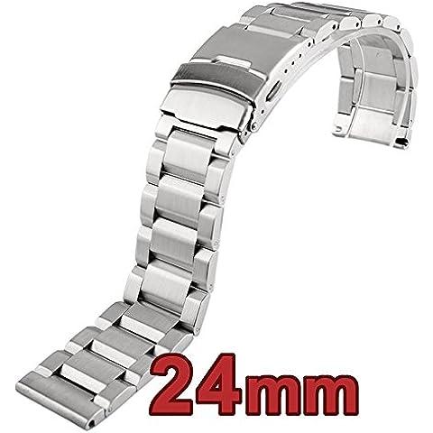 Depósito de acero inoxidable sólido de 24mm Reemplazo Pulsera con doble con tapa Lock cierre 0417