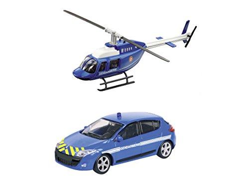 Mondo Motors - 57007 - Voiture Miniature - renault megane + Hélicoptère Sécurité France - Echelle 1/ 43 * NEUF L'unité / model aléatoire *