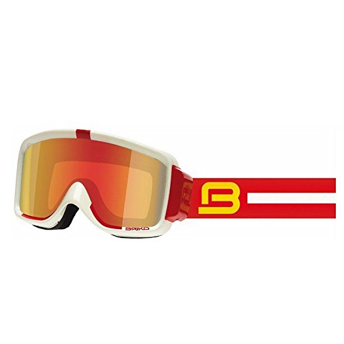 Skibrille S3 shiny white shiny red/thrama brown metal red