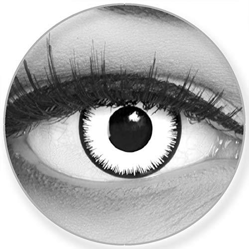Farbige Kontaktlinsen Lunatic + Behälter Funnylens weiß weich -