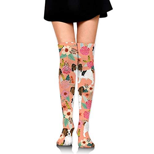 CVDGSAD Papillons Floral Peach Cute Pet Compression Socken Foot Long Stockings Knee High Socken Men Women Supports Sport Running Cycling Football Slim Leg Travel Medical Nursing