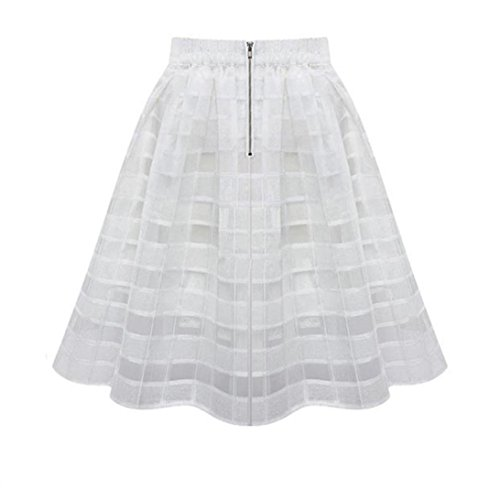 Damenrock, Dasongff Damen Tüll Rock Organza Röcke Petticoat Underskirt Hohe Taille Damenrock A line Rock Mit Reißverschluss (L, Weiß) (Petticoat Bridal Voll)