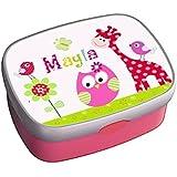 Brotdose mit Name, Mädchen, Kindergarten, Schule, Giraffe, Eule, Lunchbox, personalisiert, von ginidesign