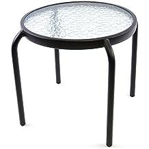 Beistelltisch rund Blumenhocker Couchtisch Kleinmöbel Tisch mit Glasplatte 43 cm Durchmesser Sofatisch Rahmen schwarz
