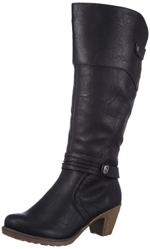 Rieker 91552 Damen Langschaft Stiefel, schwarz (schwarz/00), 42